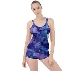 Ink Background Swirl Blue Purple Boyleg Tankini Set