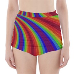 Abstract Pattern Lines Wave High Waisted Bikini Bottoms