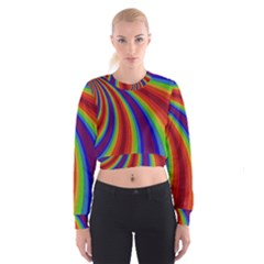 Abstract Pattern Lines Wave Cropped Sweatshirt