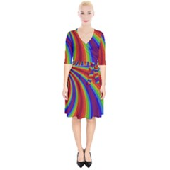 Abstract Pattern Lines Wave Wrap Up Cocktail Dress