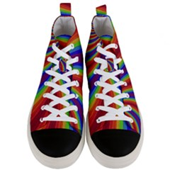 Abstract Pattern Lines Wave Men s Mid Top Canvas Sneakers