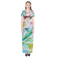 Art Abstract Abstract Art Short Sleeve Maxi Dress