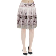 Cat Pet Cute Art Abstract Vintage Pleated Skirt