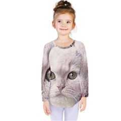 Cat Pet Cute Art Abstract Vintage Kids  Long Sleeve Tee