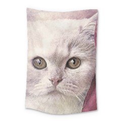 Cat Pet Cute Art Abstract Vintage Small Tapestry