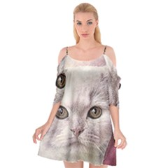 Cat Pet Cute Art Abstract Vintage Cutout Spaghetti Strap Chiffon Dress
