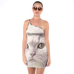 Cat Pet Cute Art Abstract Vintage One Soulder Bodycon Dress