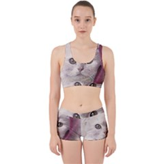 Cat Pet Cute Art Abstract Vintage Work It Out Sports Bra Set