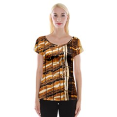 Abstract Architecture Background Cap Sleeve Tops