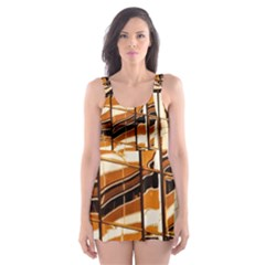 Abstract Architecture Background Skater Dress Swimsuit