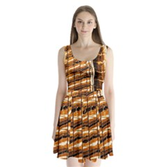 Abstract Architecture Background Split Back Mini Dress