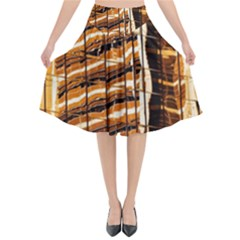 Abstract Architecture Background Flared Midi Skirt