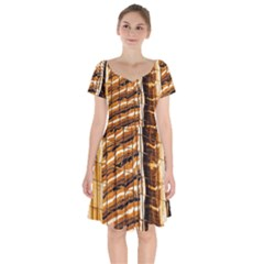 Abstract Architecture Background Short Sleeve Bardot Dress