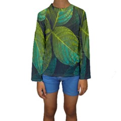 Green Plant Leaf Foliage Nature Kids  Long Sleeve Swimwear by Nexatart