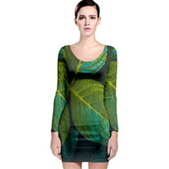 Green Plant Leaf Foliage Nature Long Sleeve Bodycon Dress