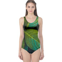 Green Plant Leaf Foliage Nature One Piece Swimsuit