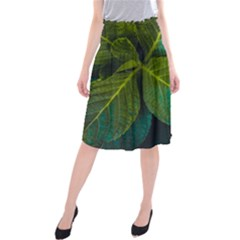 Green Plant Leaf Foliage Nature Midi Beach Skirt by Nexatart