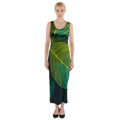 Green Plant Leaf Foliage Nature Fitted Maxi Dress