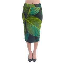 Green Plant Leaf Foliage Nature Midi Pencil Skirt