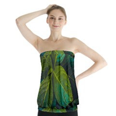 Green Plant Leaf Foliage Nature Strapless Top