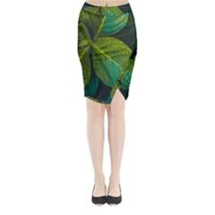 Green Plant Leaf Foliage Nature Midi Wrap Pencil Skirt by Nexatart