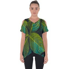 Green Plant Leaf Foliage Nature Cut Out Side Drop Tee