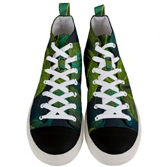 Green Plant Leaf Foliage Nature Men s Mid Top Canvas Sneakers
