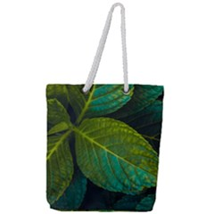Green Plant Leaf Foliage Nature Full Print Rope Handle Tote (large) by Nexatart