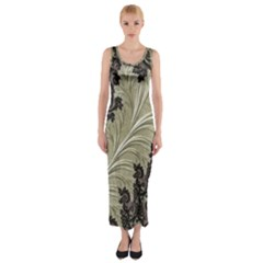 Pattern Decoration Retro Fitted Maxi Dress