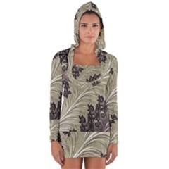 Pattern Decoration Retro Long Sleeve Hooded T Shirt