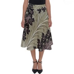 Pattern Decoration Retro Perfect Length Midi Skirt