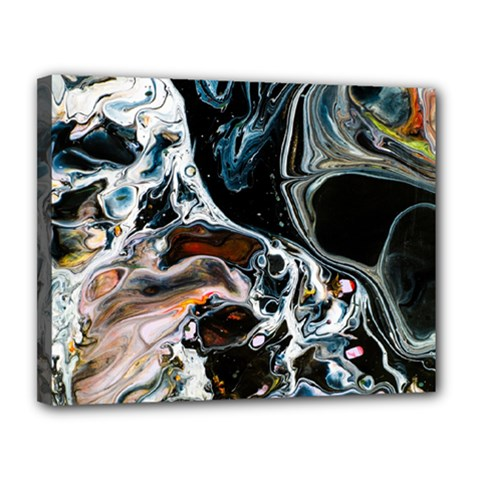 Abstract Flow River Black Canvas 14  X 11