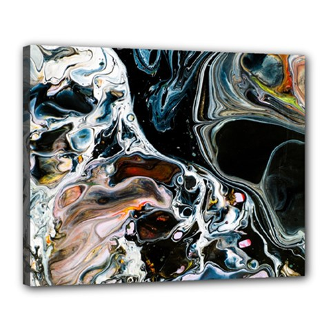 Abstract Flow River Black Canvas 20  X 16