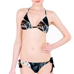 Abstract Flow River Black Bikini Set