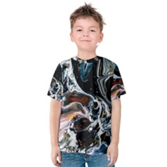 Abstract Flow River Black Kids  Cotton Tee