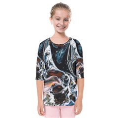 Abstract Flow River Black Kids  Quarter Sleeve Raglan Tee