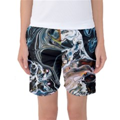 Abstract Flow River Black Women s Basketball Shorts