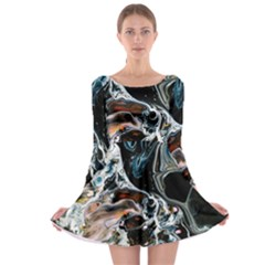 Abstract Flow River Black Long Sleeve Skater Dress