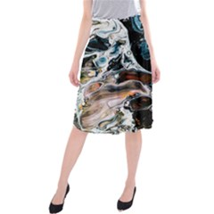 Abstract Flow River Black Midi Beach Skirt