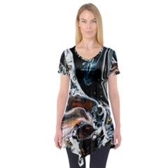 Abstract Flow River Black Short Sleeve Tunic