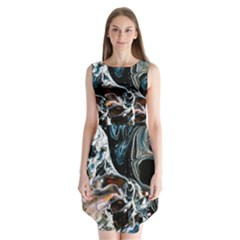 Abstract Flow River Black Sleeveless Chiffon Dress