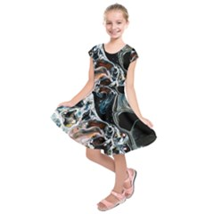 Abstract Flow River Black Kids  Short Sleeve Dress