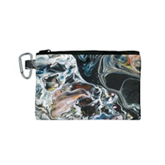 Abstract Flow River Black Canvas Cosmetic Bag (small)