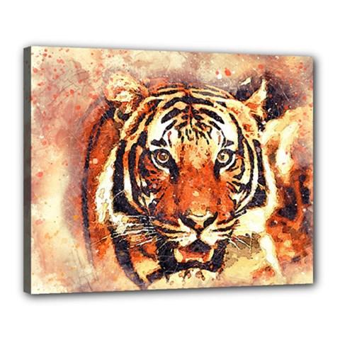 Tiger Portrait Art Abstract Canvas 20  X 16
