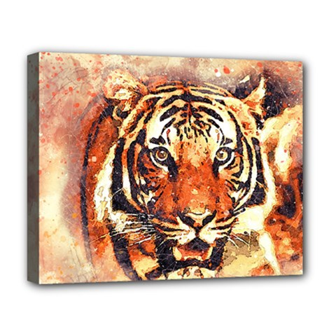 Tiger Portrait Art Abstract Deluxe Canvas 20  X 16