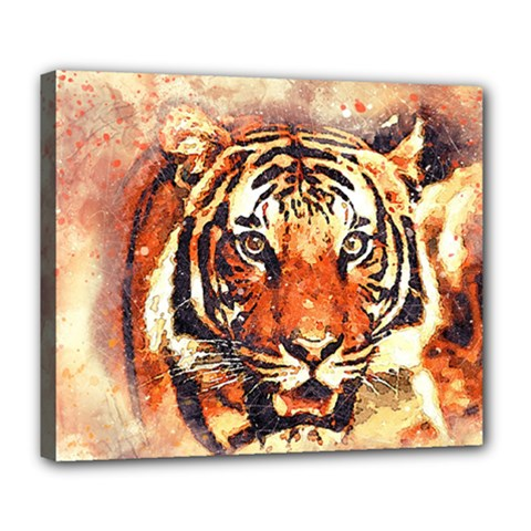 Tiger Portrait Art Abstract Deluxe Canvas 24  X 20   by Nexatart