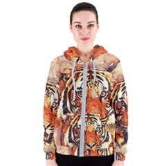 Tiger Portrait Art Abstract Women s Zipper Hoodie