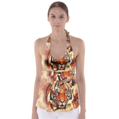 Tiger Portrait Art Abstract Babydoll Tankini Top