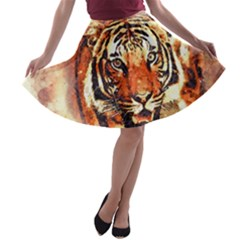 Tiger Portrait Art Abstract A Line Skater Skirt