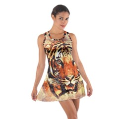 Tiger Portrait Art Abstract Cotton Racerback Dress